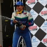 El único podium de la suiza Simona de Silvestro llegó en Houston 1, en 2013, al ser segunda con KV (FOTO: Chris Jones/INDYCAR)