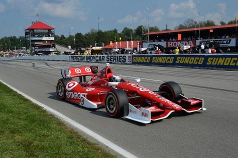 Dixon, como parte de Chip Ganassi Racing, sufrió problemas en la lluviosa clasificación de Mid-Ohio, en 2014, aunque remontó de 22° a la victoria (FOTO: Chris Owens/INDYCAR)