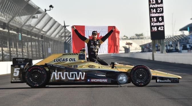 James Hinchcliffe al ganar la pole para la Indy 500 de 2016 (FOTO: Chris Owens/INDYCAR)