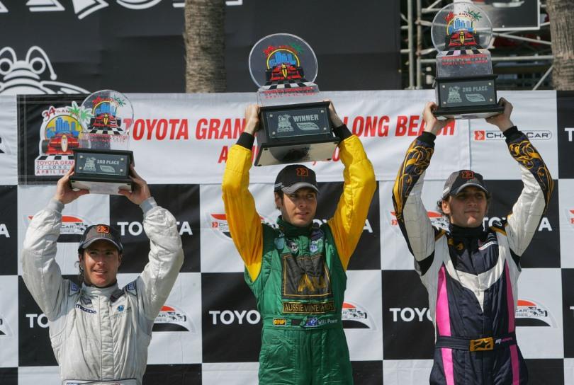 En la última carrera de los Champ Car, en 2008, Franck Montagny (der.) finalizó tercero, en la despedida de Forsythe Racing; ese fue el último año en el que Long Beach vio pilotos debutantes (FOTO: Archivo)