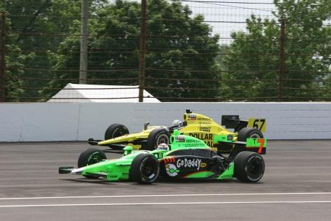 Patrick y Carpenter en la Indy 500 de 2011, cuando manejaban para Andretti Autosport y Sarah Fisher Racing, respectivamente (FOTO: IMS Photo)