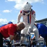 Jimmie Johnson durante su prueba con Chip Ganassi Racing en el Indianapolis Motor Speedway (FOTO: Chris Owens/INDYCAR)
