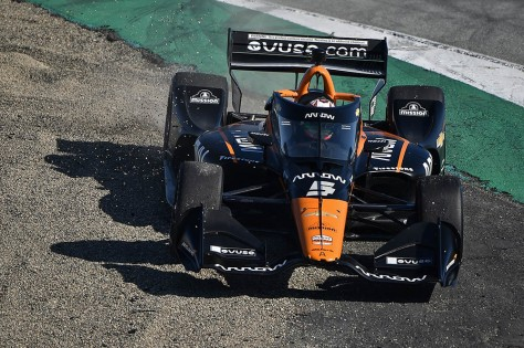 Patricio O'Ward, No. 5 Chevrolet de ARROW McLaren SP, en la quinta ronda de pruebas privadas de pretemporada de IndyCar, realizada el 1 de marzo en Laguna Seca (FOTO: Chris Owens/INDYCAR)