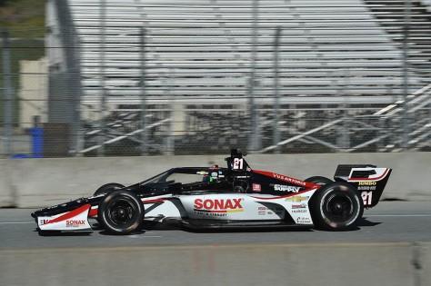Rinus VeeKay, No. 21 Chevrolet de Ed Carpenter Racing, en la quinta ronda de pruebas privadas de pretemporada de IndyCar, realizada el 1 de marzo en Laguna Seca (FOTO: Chris Owens/INDYCAR)