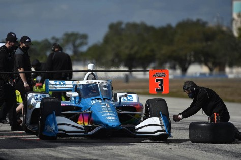 Scott McLaughlin, No. 3 Chevrolet de Team Penske, en la tercera ronda de pruebas privadas de pretemporada de IndyCar, realizada el 1 de febrero en Sebring (FOTO: Chris Owens/INDYCAR)