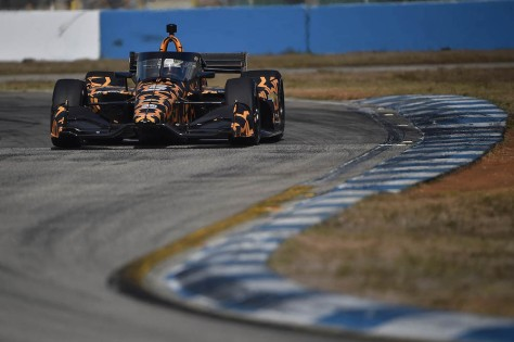 Patricio O'Ward, No. 5 de ARROW McLaren SP, en la tercera ronda de pruebas privadas de pretemporada de IndyCar, realizada el 1 de febrero en Sebring (FOTO: Chris Owens/INDYCAR)