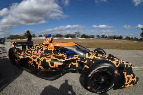 Felix Rosenqvist, No. 7 Chevrolet de ARROW McLaren SP, en la tercera ronda de pruebas privadas de pretemporada de IndyCar, realizada el 1 de febrero en Sebring (FOTO: Chris Owens/INDYCAR)